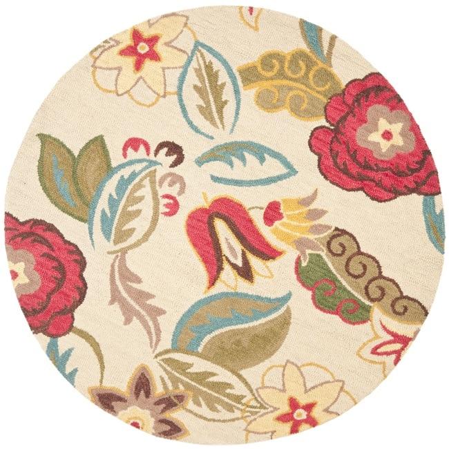 Safavieh Handmade Blossom Paisley Beige Wool Rug 6 Round
