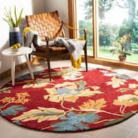 Safavieh Handmade Blossom Red Floral Wool Rug - 6' x 6' Round