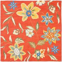 Safavieh Handmade Blossom Rust Wool Area Rug - 6' x 6' Square