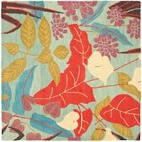 Safavieh Handmade Blossom Blue Wool Area Rug - 6' x 6' Square
