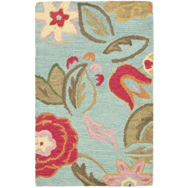Safavieh Handmade Blossom Blue Wool Rug - 2'6 x 4'