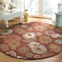 Safavieh Handmade Blossom Red Wool Rug - 6' x 6' Round