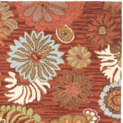 Safavieh Traditional Handmade Blossom Red Wool Rug (6' Square) - Thumbnail 1