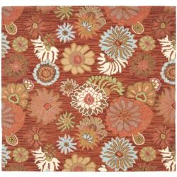 Safavieh Traditional Handmade Blossom Red Wool Rug - 6' x 6' Square - Thumbnail 0