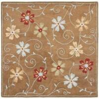 Safavieh Handmade Blossom Camel Wool Rug - 6' x 6' Square