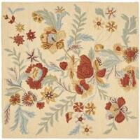 Safavieh Handmade Blossom Beige Wool Rug - 6' x 6' Square