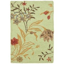Safavieh Handmade Blossom Green/ Rust Wool Rug (2' x 3')