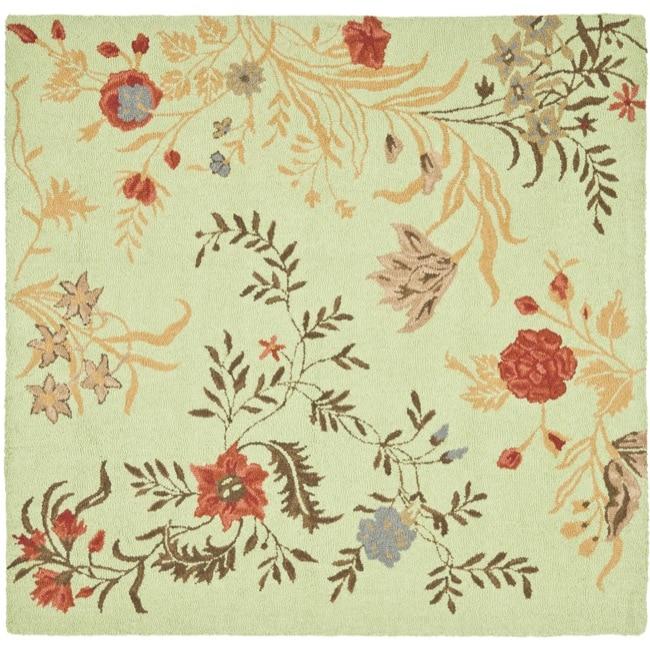 Safavieh Handmade Blossom Green/ Rust Wool Rug (6' Square)