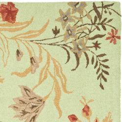 Safavieh Handmade Blossom Green/ Rust Wool Rug (6' Square) - Thumbnail 1