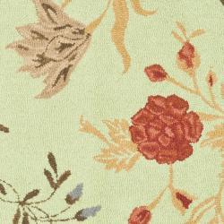 Safavieh Handmade Blossom Green/ Rust Wool Rug (6' Square) - Thumbnail 2