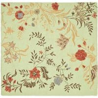 Safavieh Handmade Blossom Green/ Rust Wool Rug - 6' x 6' Square
