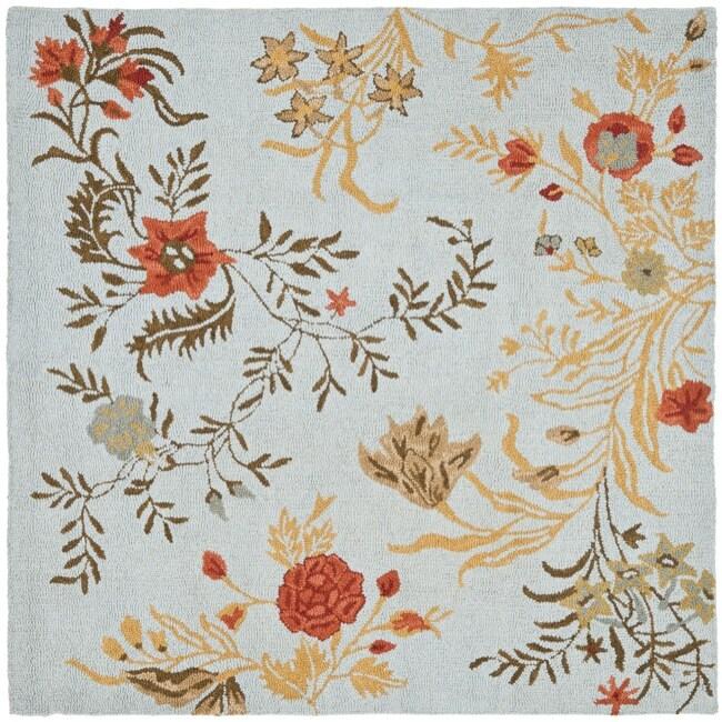 Safavieh Handmade Blossom Blue Wool Rug - 6' x 6' Square