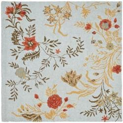 Safavieh Handmade Blossom Blue Wool Rug - 6' x 6' Square - Thumbnail 0