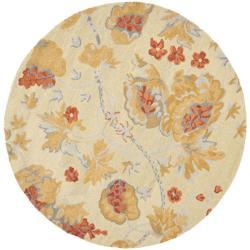 Safavieh Traditional Handmade Blossom Beige Wool Rug - 6' x 6' Round - Thumbnail 0
