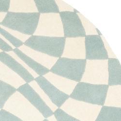 Safavieh Handmade New Zealand Wool Nero Blue Rug (6' Round) - Thumbnail 1