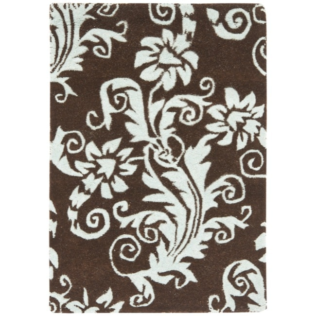 Safavieh Handmade New Zealand Wool Paris Brown/ Blue Rug (2' x 3') - Thumbnail 0