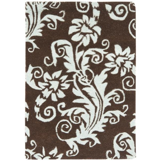 Safavieh Handmade New Zealand Wool Paris Brown/ Blue Rug - 2' x 3'