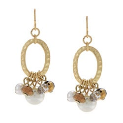 Alexa Starr Goldtone Faux Pearl and Glass Hoop Earrings