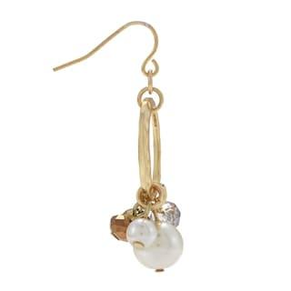 Alexa Starr Goldtone Faux Pearl and Glass Hoop Earrings