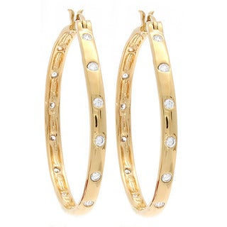 NEXTE Jewelry 14k Gold Overlay Cubic Zirconia Hoop Earrings