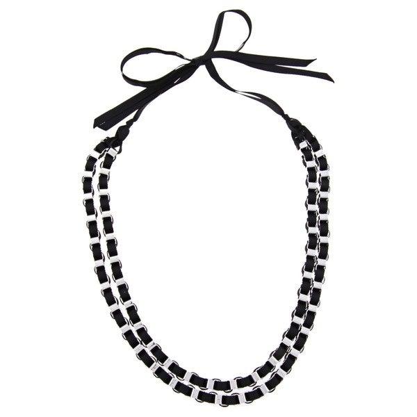 Alexa Starr Silvertone Chain and Black Ribbon Necklace