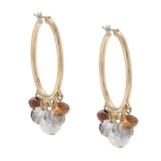 Alexa Starr Goldtone Faux Pearl and Glass 5-Bead Hoop Earrings
