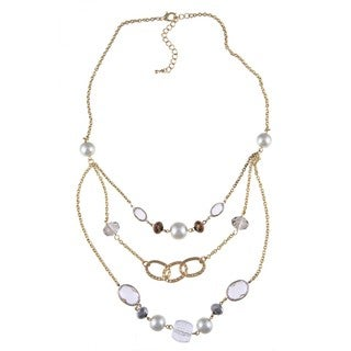 Alexa Starr Three-Row Faux Pearl Bib Necklace