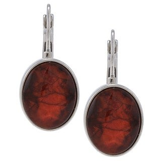 Alexa Starr High-polish Silvertone Crimson Lucite Dangle Earrings
