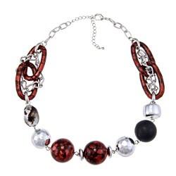 Alexa Starr Silvertone Crimson Acrylic Bead Necklace