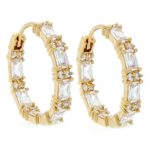 NEXTE Jewelry 14k Gold Overlay Emerald-cut Cubic Zirconia Hoop Earrings
