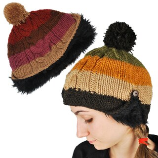 Striped Wool Faux-fur Hat (Nepal)