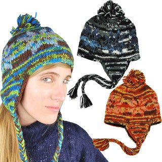 Handmade Wool Multicolor Fleece-Lined Earflap Hat with Top Pom (Nepal)