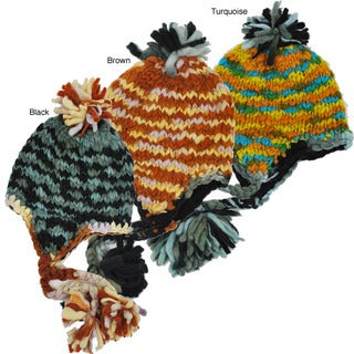 Handmade Wool Colorful Fleece-lined Earflap Hat (Nepal)