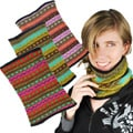 Fleece-lined Wool Colorful Knitted 14.5-inch Neck Warmer (Nepal)
