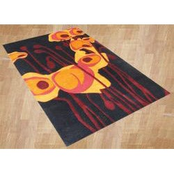 Handmade Tufted Black Tulip Wool Rug (8' x 10') - Thumbnail 1