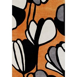 Handmade Metro Soft Orange Wool Rug (5' x 8')