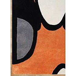 Handmade Metro Soft Orange Wool Rug (8' x 10') - Thumbnail 2