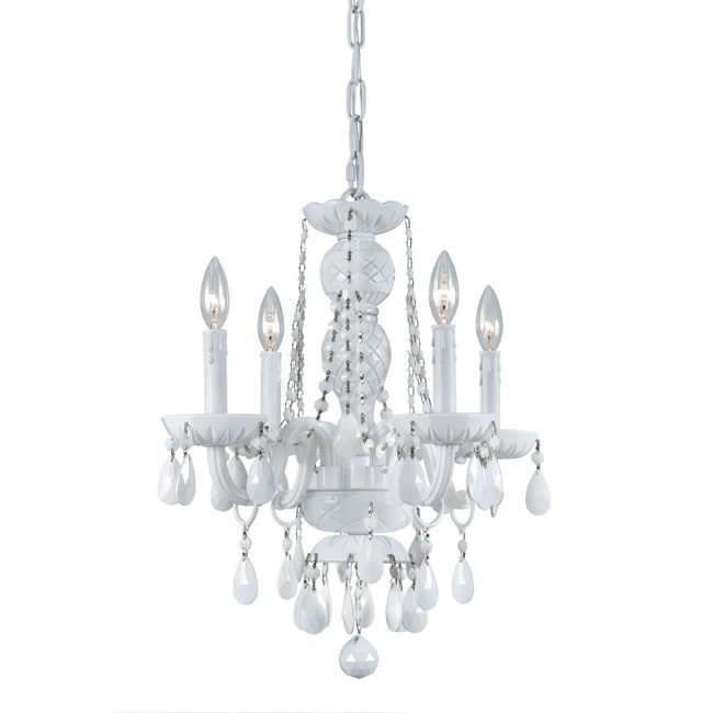 Crystorama Transitional 4-light White Crystal Chandelier