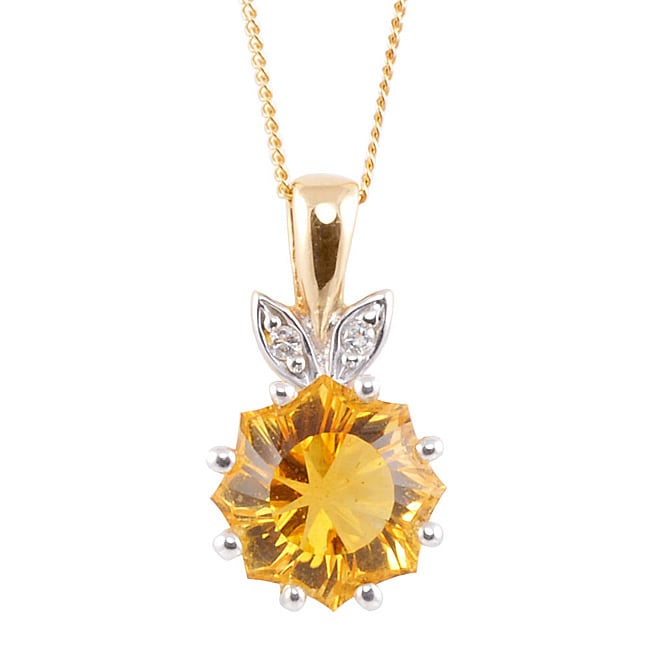 Michael Valitutti 14k Two-tone Gold Citrine and Diamond Accent Necklace
