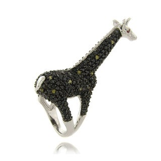 Dolce Giavonna Silverplated Black and Yellow Cubic Zirconia Giraffe Ring