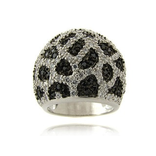 Dolce Giavonna Silverplated Black and White Cubic Zirconia Leopard Print Ring