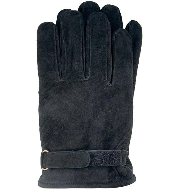Isotoner Men's Black Large Suede Gloves