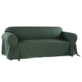 Clic Slipcovers Machine Washable Cotton Duck Sofa Slipcover Option Hunter Green
