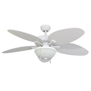 EcoSure Siesta Key 52-inch Tropical, White Bowl Light Indoor/ Outdoor Ceiling Fan with Wicker Blades and Remote Control