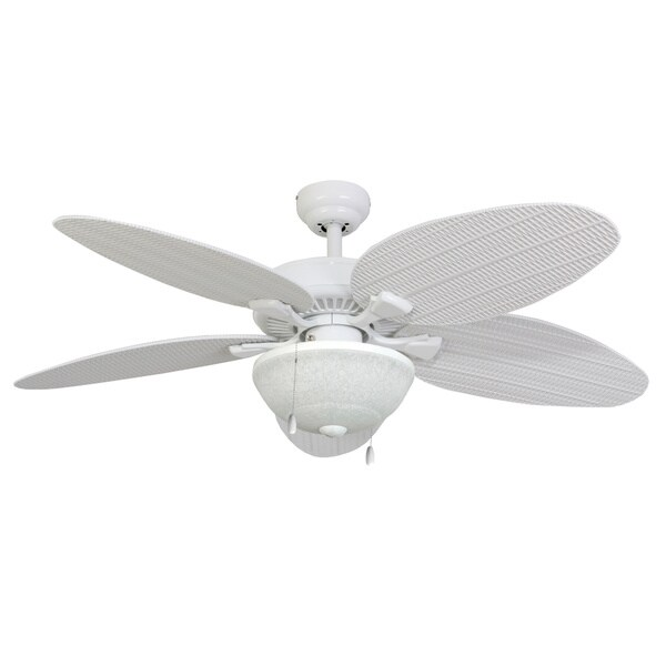 EcoSure Siesta Key 52-inch White Bowl Light Outdoor Ceiling Fan with Wicker Blades and Remote Control