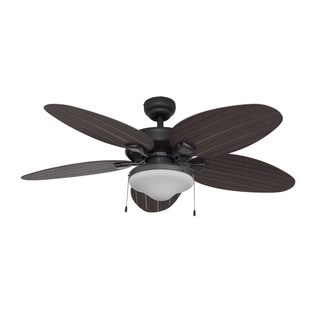 EcoSure Siesta Key 52-inch Tropical Bowl Light, Bronze Ceiling Fan with Palm Blades and Remote Control