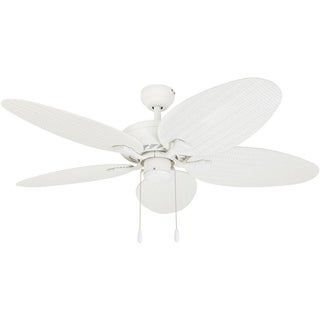 EcoSure Siesta Key White 52-inch Tropical Ceiling Fan with Wicker Blades and Remote Control