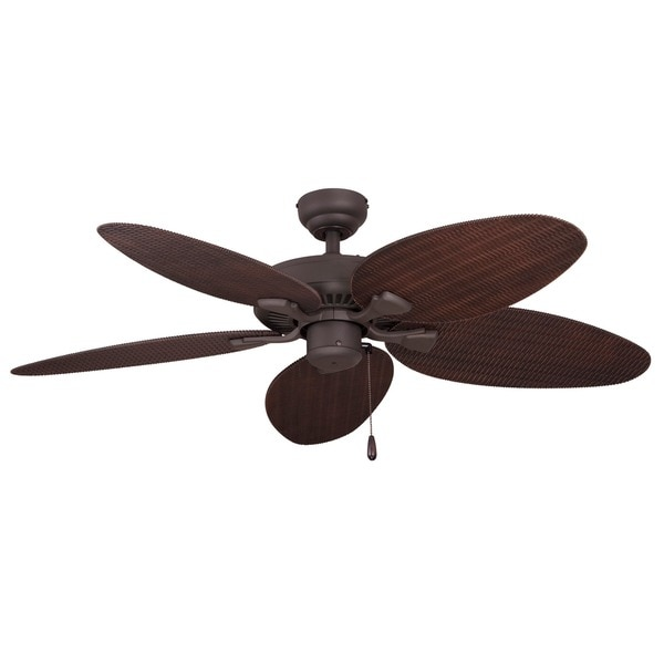 EcoSure Siesta Key 52-inch Tropical Bronze Outdoor Ceiling Fan with Wicker Blades and Remote Control