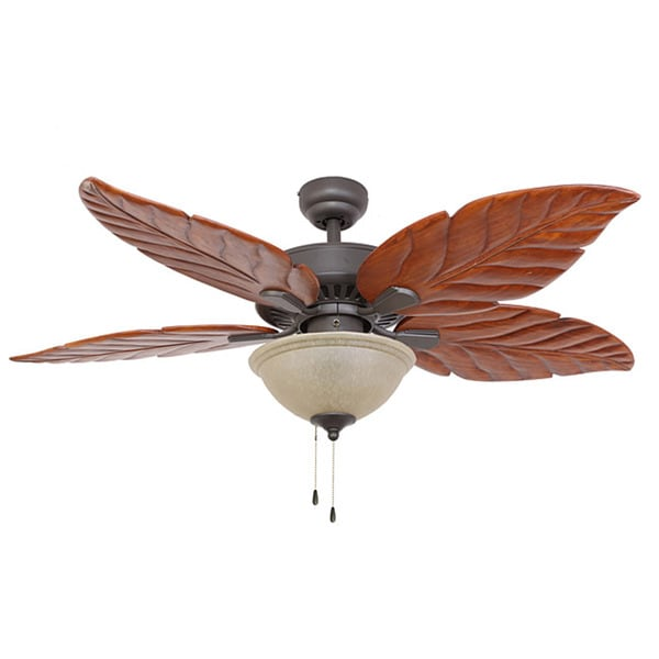 EcoSure Aruba 52-inch Light Bronze Ceiling Fan with Hand-carved Wooden Blades and Remote Control
