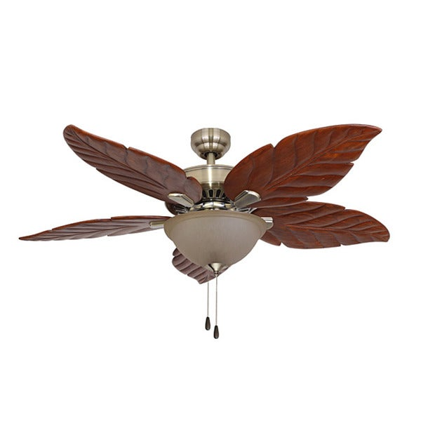 EcoSure Aruba 52-inch Bowl Light Aged Brass Ceiling Fan with Hand-carved Wooden Blades and Remote Control